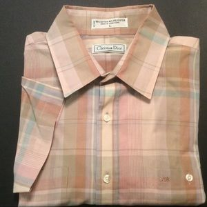 Christian Dior pink tan plaid short sleeve Size L